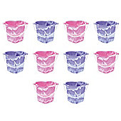 Set Of 10 Mixed Colour Heart Shaped Beach Buckets