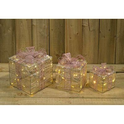 kingfisher set of 3 led light up champagne silk christmas xmas decoration gift boxes