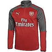 Puma Arsenal 2017/18 Mens Home Quarter Zip Training Top Football Jacket - Red