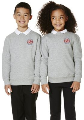 Unisex Embroidered Cotton Blend School Sweatshirt with As New Technology 11-12 years Grey