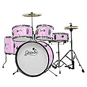Jasmin 5 Piece Junior Drum Kit - Pink with Stool and Sticks