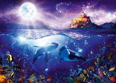 Whales in the Moonlight - 1000pc Puzzle