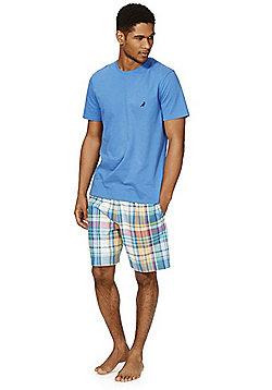 F&F Checked Shorts Loungewear Set - Blue