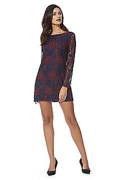 Mela London Rose Lace Bodycon Dress - Navy