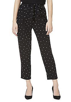 F&F Polka Dot Tie Waist Trousers - Black & White