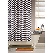 Hamilton McBride Printed Shower Curtain & Rings Set - Chevron