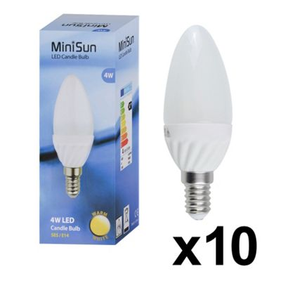 Pack of 10 Minisun 4W Warm White Frosted LED Candle Bulbs - SES E14