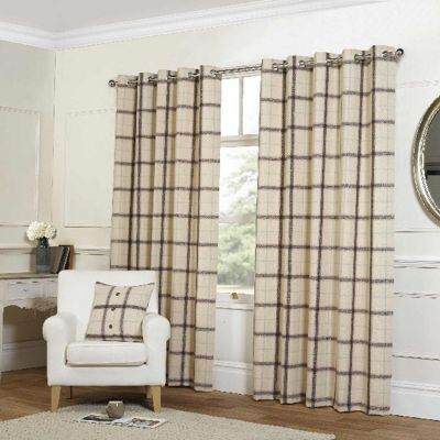 Rapport Natural Check Eyelet Curtains - 90x90 Inches (229x229cm)