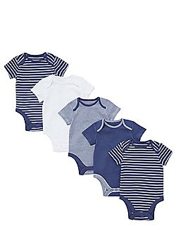 F&F 5 Pack of Striped and Plain Short Sleeve Bodysuits - Blue
