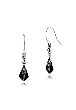 Gemondo Sterling Silver 0.11ct Marcasite & Enamel Art Deco Drop Earrings