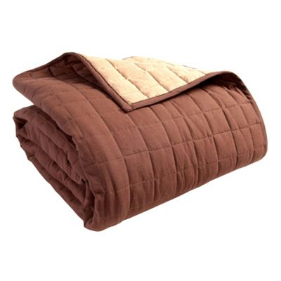 Homescapes Cotton Quilted Reversible Bedspread Chocolate Mink Brown, 150 x 200 cm