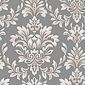 Designer Laurence Llewelyn-Bowen Johor Damask Subtle Glitter Grey Wallpaper