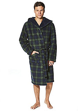 F&F Checked Fleece Lined Dressing Gown - Navy