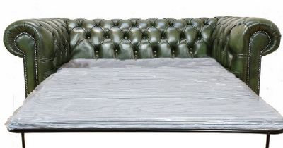 Chesterfield 2 Seater Sofa Bed - Antique Green