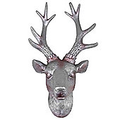 30cm Aged Silver Effect Polyresin Wall-mountable Stag's Head Ornament