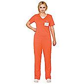 Adult's Women's Orange Convict Prisoner Shirt & Trousers Fancy Dress Costume - Orange