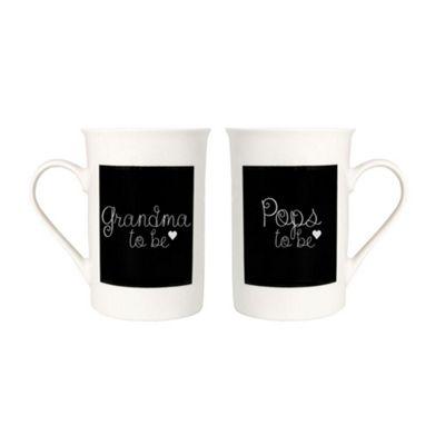 Decorative 'Grandma and Pops To Be' Black & White Mug Gift Set