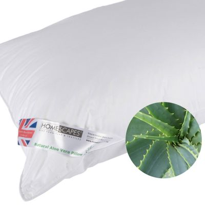 Homescapes Aloe Vera Pillow Goose Feather and Down Extra Fill, 48 x 74 cm