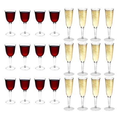 Rink Drink Plastic Wine Glasses & Champagne Outdoor Flutes - Set Of 24