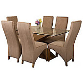 Valencia Small Oak 160cm Modern Glass Dining Set Table and 6 Beige Fabric Chairs