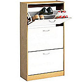 Shoe Storage Cabinet 3 Flip Door 12 Pair - White / Beech Wood Effect