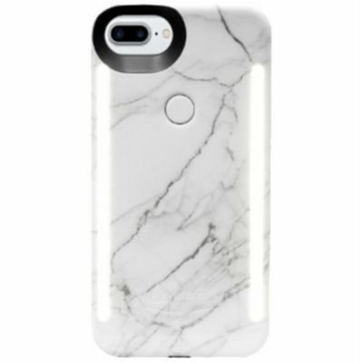 LuMee Duo LED Phone Selfie Case For iPhone 6+/6S+/7+/8+│Soft-Slim-Sleek│White Marble