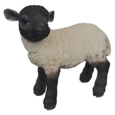 Real Life Black/White Standing Lamb Ornament