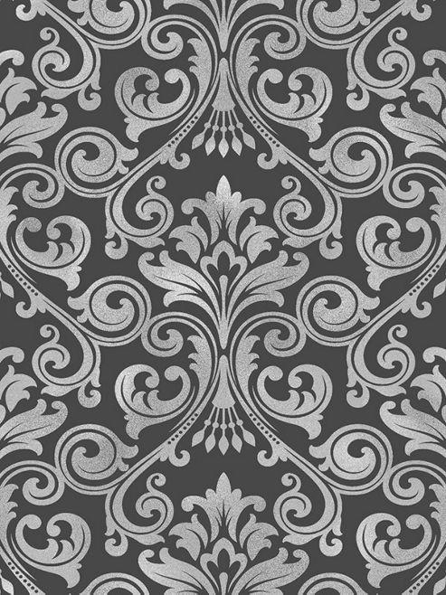 Fine Decor Wentworth Damask Wallpaper Black / Silver FD41700