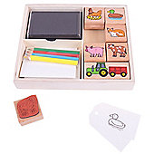 Bigjigs Toys Farm Rubber Stamp and Colour Set with Ink Pad