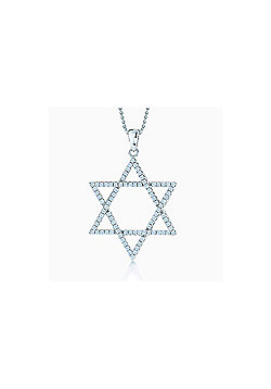 REAL Effect Rhodium Plated Sterling Silver White Cubic Zirconia Star of David Charm Pendant - 16/18 inch