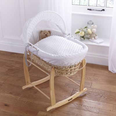 Clair de lune Dimple Natural Wicker Moses Basket - White