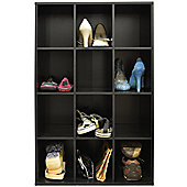 Pigeon Hole - 12 Pair Shoe Storage / Display / Media Shelves - Black