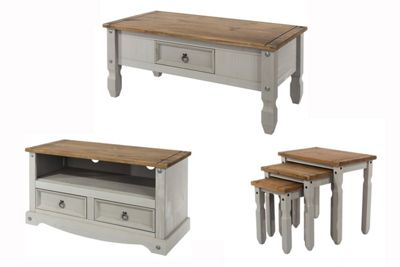 Buy Corona Grey Wash Occasional Set Coffee Table, Nest & TV Stand ...