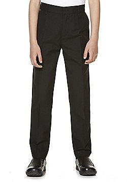 """F&F School 2 Pack of Boys Teflon EcoElite""""™ Flat Front Slim Leg Longer Length Trousers - Black"""