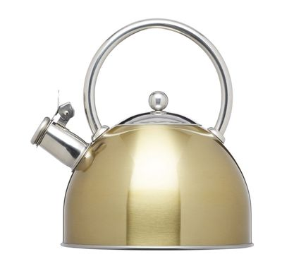 KitchenCraft Le'Xpress Induction Safe Stovetop Whistling Kettle in Brass Finish 1.8 Litre