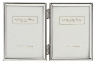 Addison Ross Essentials Photo Frame Silver Plate Double Frame - 2 in x 3 in