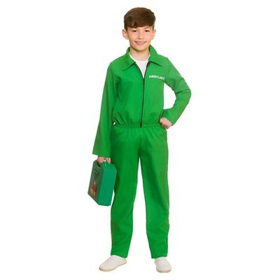 Paramedic Unisex Childrens Fancy Dress Costume Green Jumpsuit-Large 8-10 Years