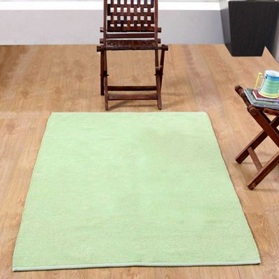 Homescapes Chenille Plain Cotton Extra Large Rug Sage Green, 110 x 170 cm