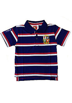 British & Irish Lions Rugby Kids Striped Polo Navy - Navy