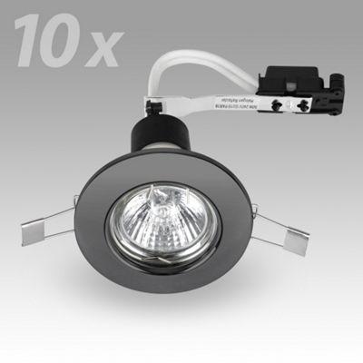 Pack of 10 MiniSun Recessed GU10 Downlights, Black Chrome