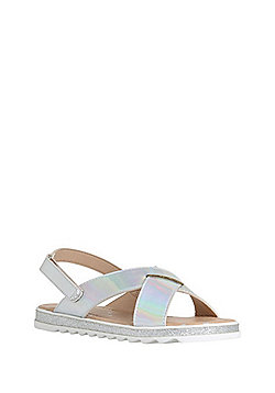 F&F Holographic Cross Strap Sandals - Silver