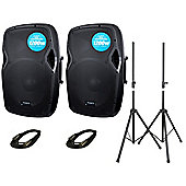 Kam RZ15a Powered Speaker Package With Stands And XLR To XLR Leads