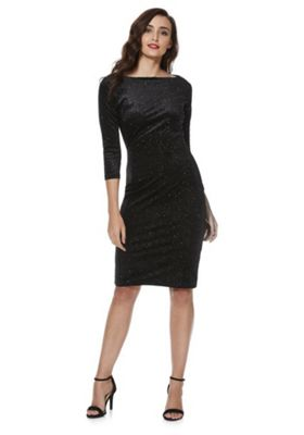 Feverfish Glitter Bodycon Dress 14 Black glitter