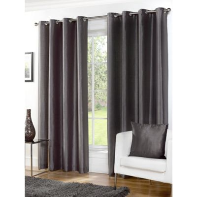 Hamilton McBride Faux Silk Lined Eyelet Grey Curtains - 90x72 Inches (229x183cm)