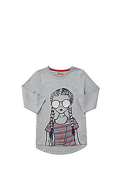 F&F Girl Print 3/4 Length Sleeve T-Shirt - Grey