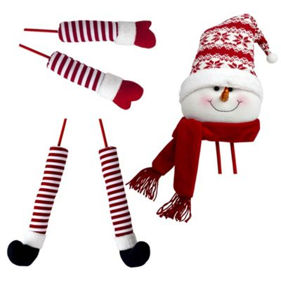 Plush Christmas Snowman Tree Decoration - Head, Arms & Legs Picks Set
