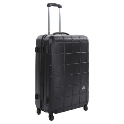 Beverly Hills Polo Club Hard Shell 4-Wheel Suitcase, Black Square Print Small
