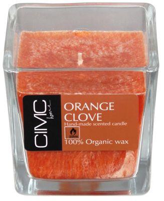 Orange Clove Scented Candle in Square Glass
