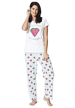 F&F You're One In A Melon Slogan Pyjamas - White