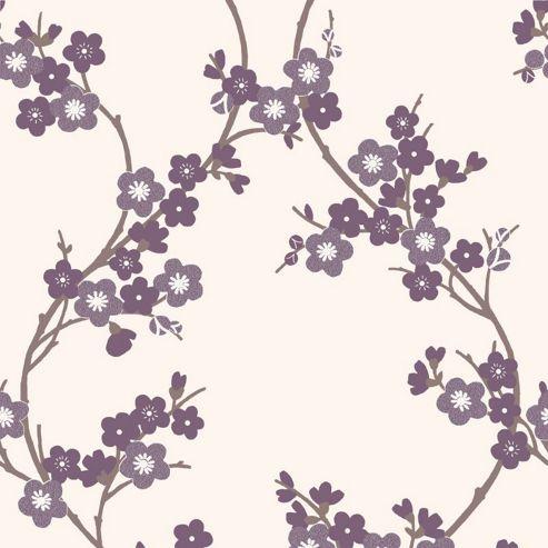 Superfresco Cherry Blossom Floral Metallic Plum Wallpaper